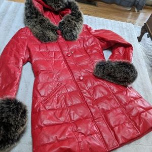 Winter coat red leather with Fur